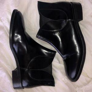 Topshop black leather booties